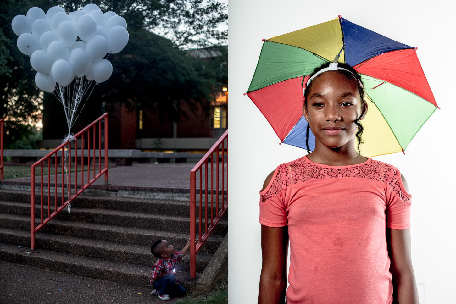 Andrea Morales, (Left) A community vigil for the victims of violence at Northside High School; (Right) Santaria, 12, in the studio